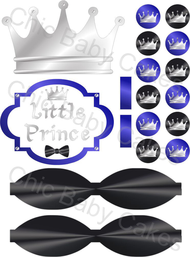 Little Prince Printable Diaper Cake Decorations, Royal Blue, Black, and Silver