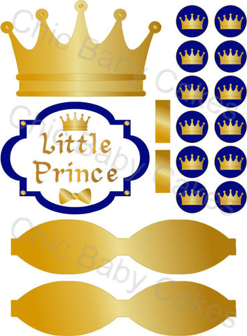 Little Prince Diaper Cake Decorations, Royal Blue and Gold