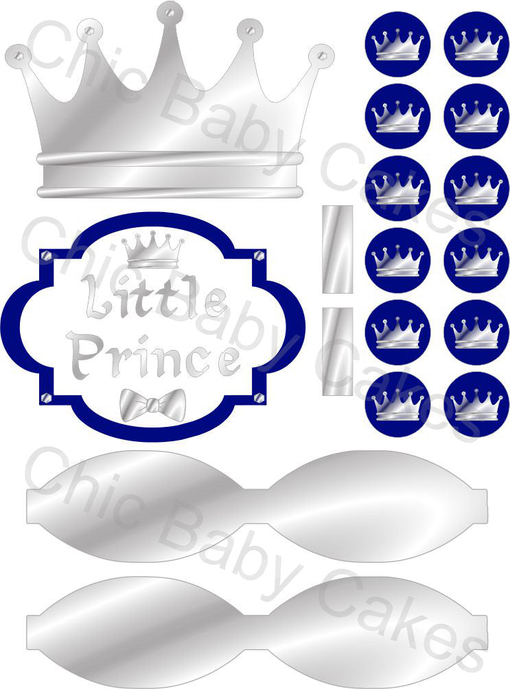 Little Prince Diaper Cake Decorations, Royal Blue and Silver