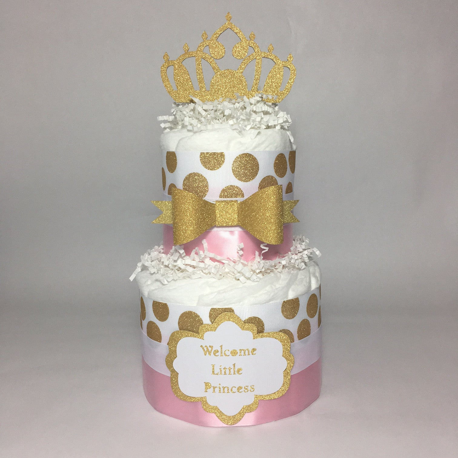 Little Princess Royal Diaper Cake, Pink Gold