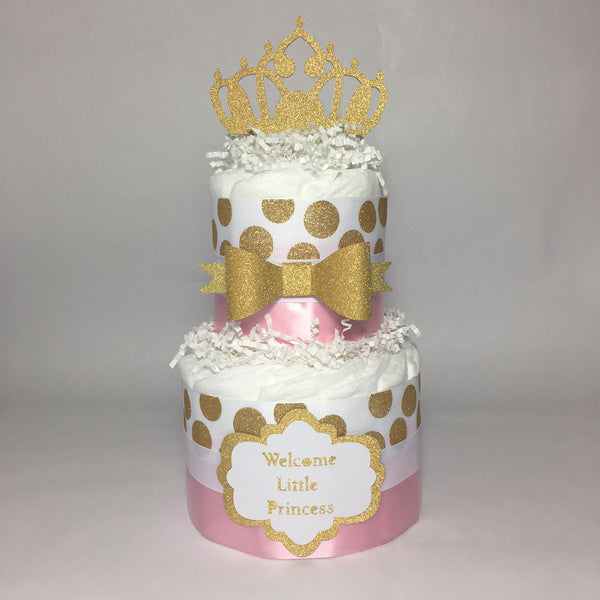 Little Princess Royal Diaper Cake Pink Gold