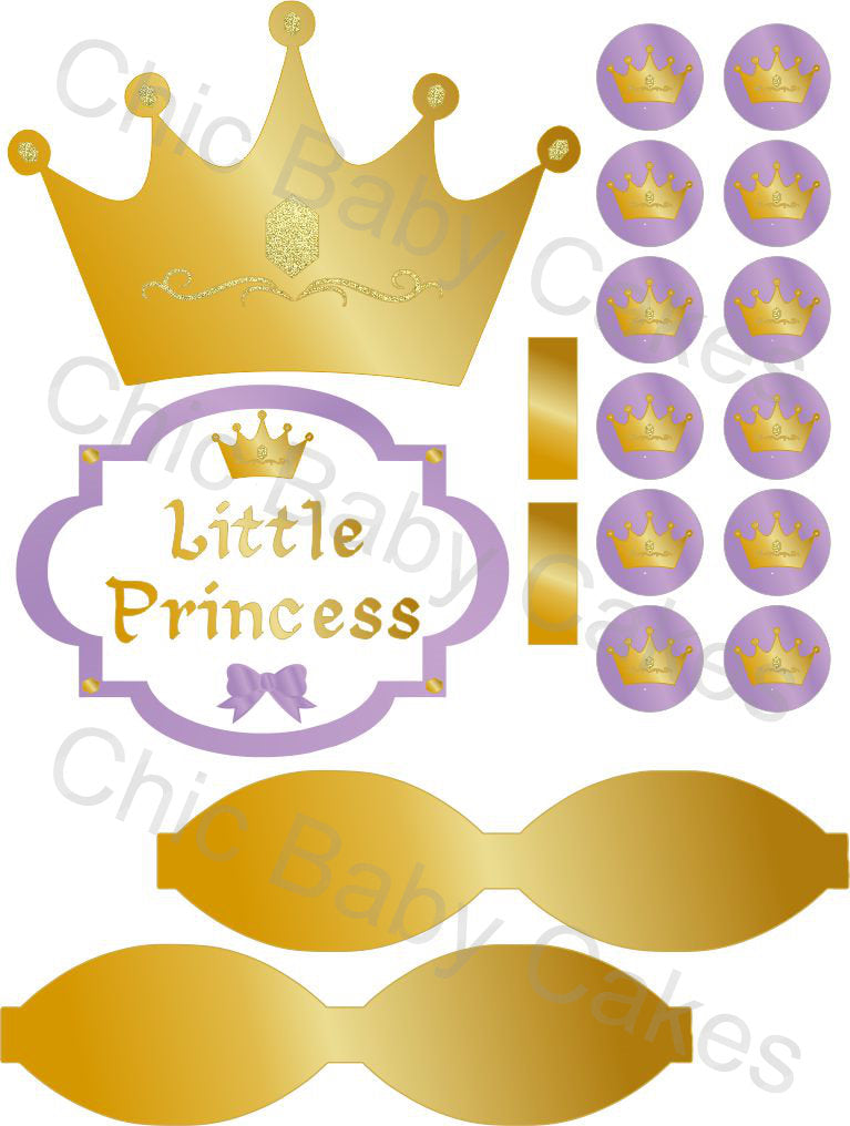 Little Princess Diaper Cake Decorations, Lavender and Gold