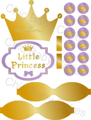 Little Princess Printable Diaper Cake Decorations, Lavender and Gold