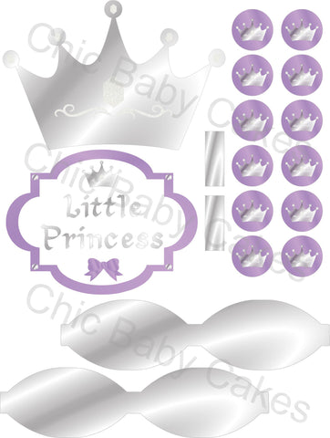 Little Princess Diaper Cake Decorations, Lavender and Silver