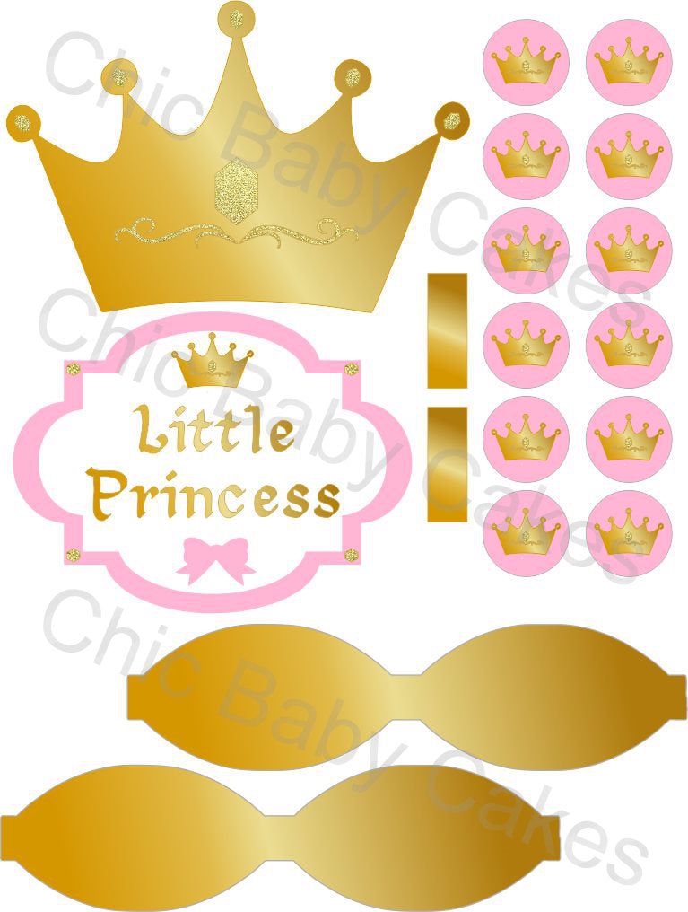 Little Princess Diaper Cake Decorations, Light Pink and Gold