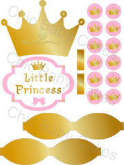 Little Princess Printable Diaper Cake Decorations, Light Pink and Gold