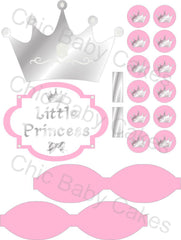 Little Princess Printable Diaper Cake Decorations, Light Pink and Silver
