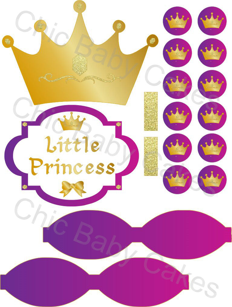 Little Princess Printable Diaper Cake Decorations, Magenta, Purple, and Gold