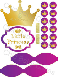 Little Princess Diaper Cake Decorations, Magenta, Purple, and Gold