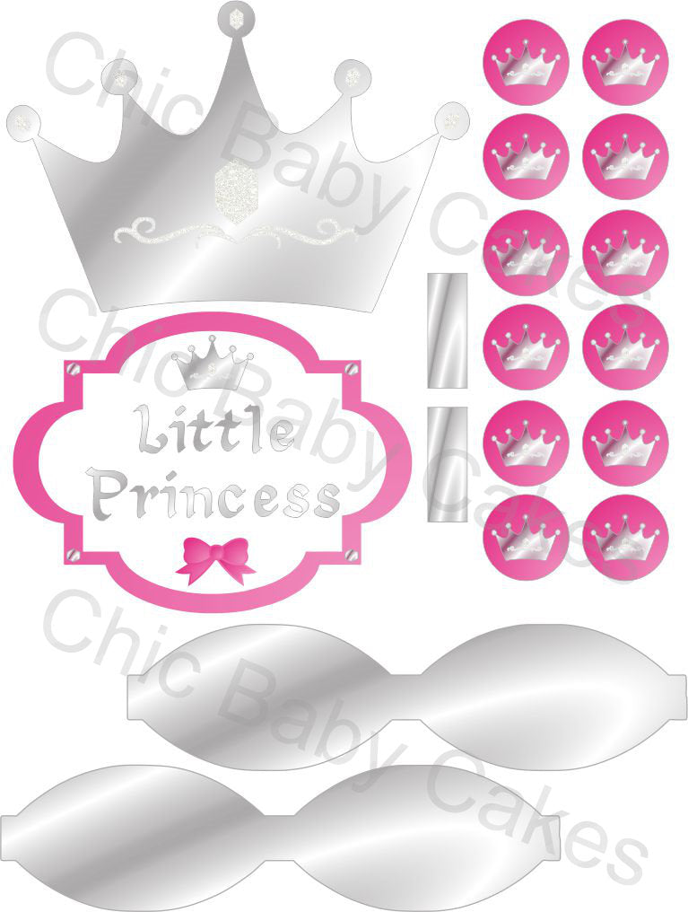 Little Princess Printable Diaper Cake Decorations, Pink and Silver