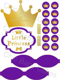 Little Princess Diaper Cake Decorations, Royal Purple and Gold