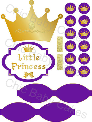 Little Princess Printable Diaper Cake Decorations, Royal Purple and Gold