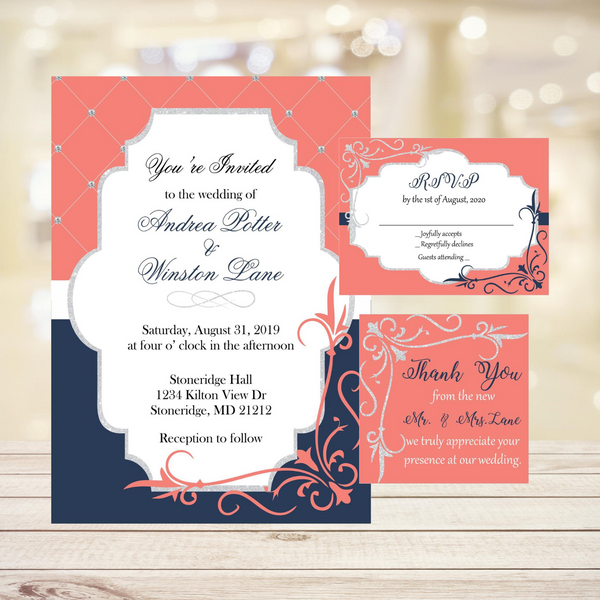 Coral, Navy & Silver Wedding Invitation Set