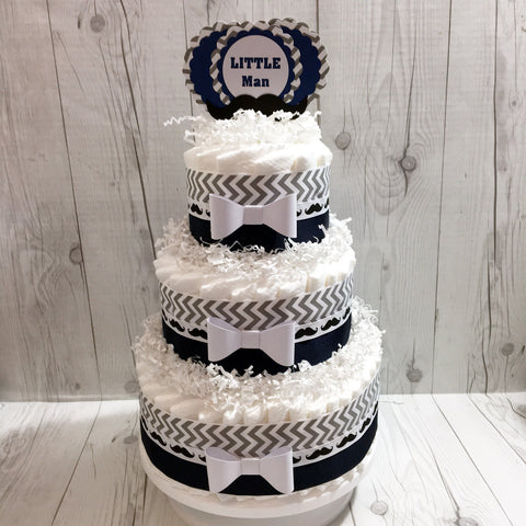 Navy and Gray Little Man Diaper Cake Centerpiece