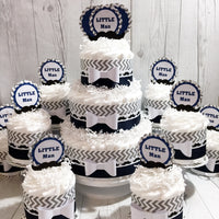 Navy & Gray Little Man Diaper Cake Centerpiece Set
