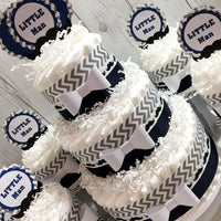 Navy & Gray Little Man Diaper Cake Centerpieces