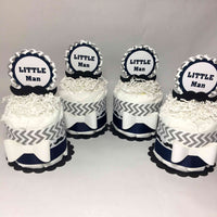 Navy & Gray Little Man Mini Diaper Cake Centerpiece Set