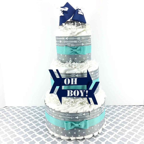 Navy, Aqua, & Gray Oh Boy Arrows Diaper Cake