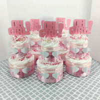 Oh Girl Pink & White Diaper Cake Centerpieces