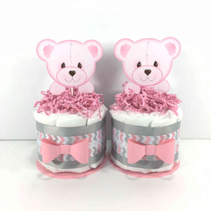 Pink & Gray Girl Baby Bear Diaper Cakes