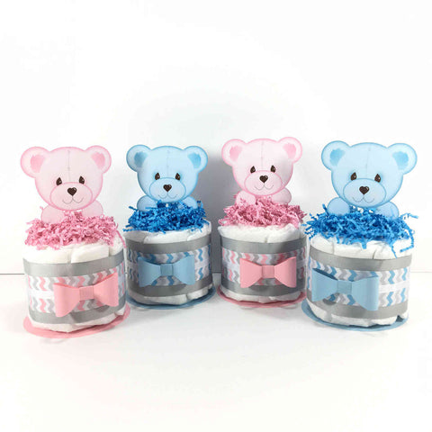 Peeking Bear Gender Reveal Mini Diaper Cake Set