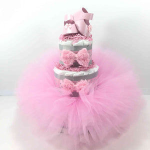 Pink & Gray Fluffy Tutu Diaper Cake Centerpiece