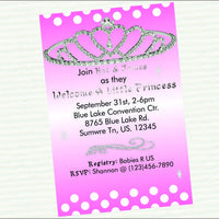 Pink & Silver Princess Baby Shower Invites