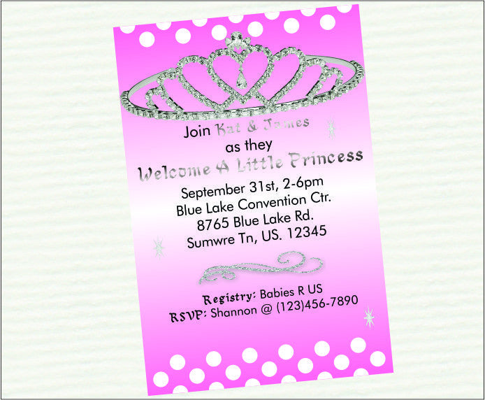pink princess digital baby shower invitations | chic baby cakes, Baby shower invitations