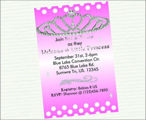 Pink Princess Digital Baby Shower Invitations