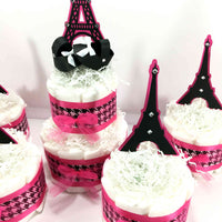 Paris Themed Girl Diaper Cake Centerpiece Set