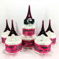 Pink & Black Paris Diaper Cake Centerpiece Set