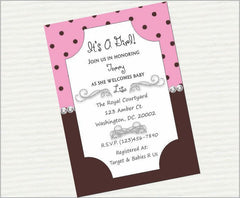 Pink & Brown Digital Baby Shower Invitation