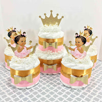 Pink and Gold Little Princess Diaper Cake Set