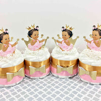 Pink & Gold Princess Mini Diaper Cakes, Brown
