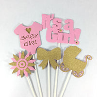 It's A Girl Centerpiece Sticks, Pink, Gold
