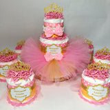 Pink & Gold Princess Tutu Diaper Cake Centerpiece Set