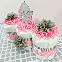Pink and Gray Baby Elephant Diaper Cake Centerpiece