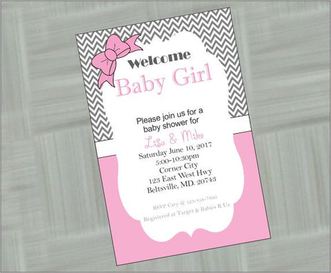 Pink and Gray Welcome Baby Girl Digital Baby Shower Invitation