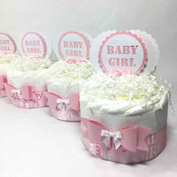 Pink & White Girl Baby Shower Mini Diaper Cakes