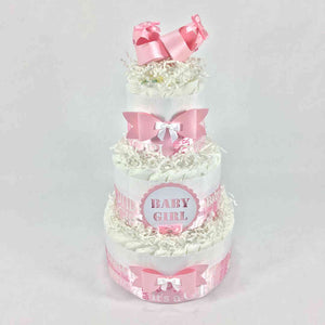 Pink & White Girl Baby Shower Diaper Cake