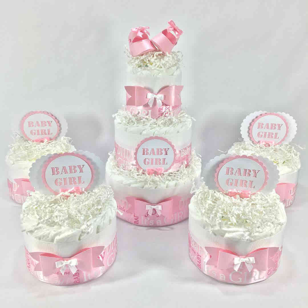 Welcome Baby Girl Diaper Cake Centerpiece Set - Pink & White