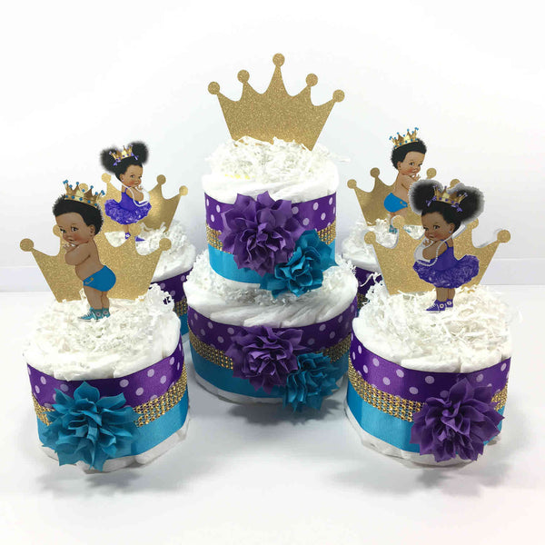 Purple, Turquoise, & Gold Diaper Cake Set