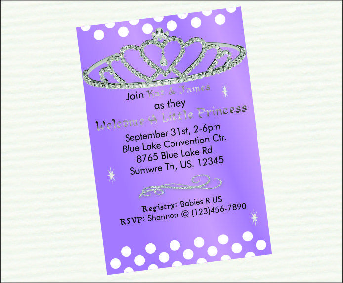 Lavender & Silver Princess Baby Shower Invite