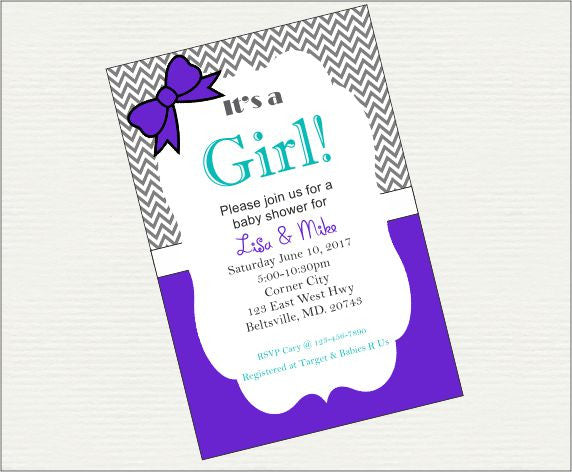 Purple and Teal It's a Girl Digital Baby Shower Invitation