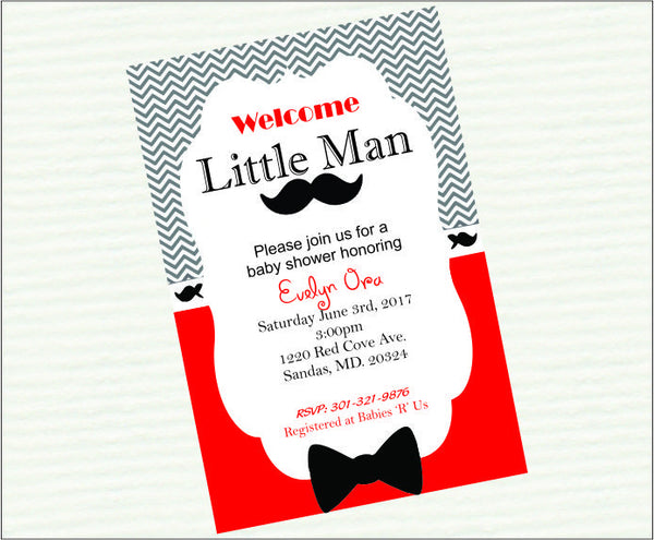 Red & Black Little Man Baby Shower Invitation