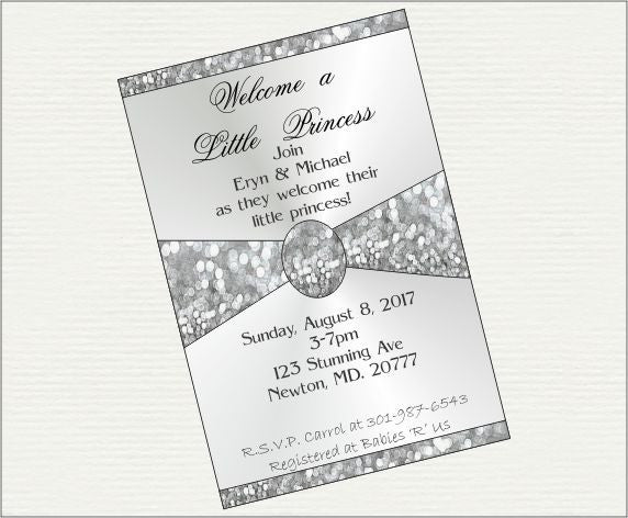 Silver Glitter Princess Baby Shower Invite