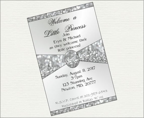Silver Welcome a Little Princess Digital Baby Shower Invitation