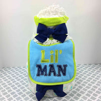 Navy, Teal, & Lime Boy Diaper Cake Gift