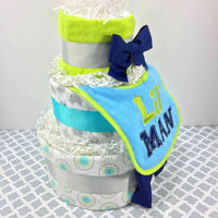 Teal, Lime, and Gray Lil Man Diaper Cake