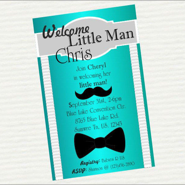 turquoise little man digital baby shower invitations | chic baby cakes, Baby shower invitations